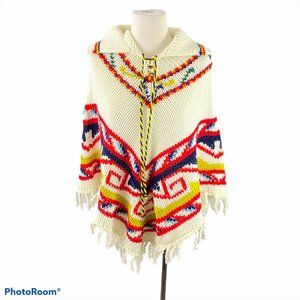VINTAGE THE HOUSE OF JADE Beige Knit Poncho